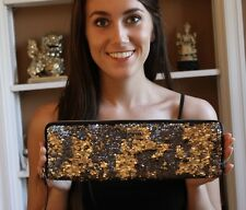Kate Spade Super Special Reversible Gold/Silver Sequin Cigarette Clutch Bag WOW!