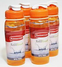 CLEARANCE!  4PK Rubbermaid Orange Refill Reuse Chug Water Bottles 20 oz BPA FREE