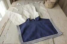 Vintage French  French sailor collar navy uniform bib blue