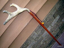 FullCrown FALLOW DEER ANTLER mahogany/hardwood shaft walking-stick/cane~log home