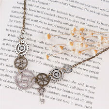 Vintage Retro Steampunk Antique Bronze Gear Key Pendants Statement Necklace Gift