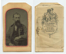 TINTED CDV STUDIO PORTRAIT MAN W/ GREAT FACIAL HAIR FROM JACKSONVILLE, ILLINOIS