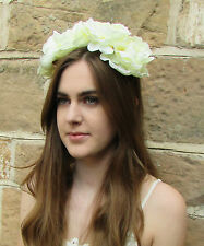 Large Ivory White Peony Flower Headband Hair Crown Rose Big Festival Garland Z90