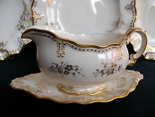ROYAL CROWN DERBY- ROYAL ST. JAMES- GRAVY BOAT & SAUCER -HAIRLINES but NICE !