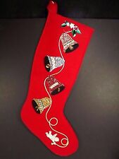 Felt Christmas Stocking Bells Embroidered Sequins Beads Decoration Handmade Red