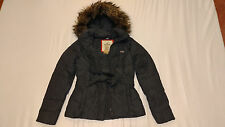 NWT Hollister Hoodie FUR LINED Jacket Coat + BELT Womens L Large Grey Gray