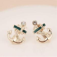 GOLD PLATED STUD EARRINGS - ANCHOR WITH GREEN ENAMELLING - 15x10mm.......885