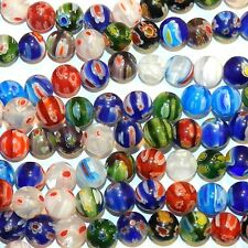 """G4248L2 Assorted Color Multi-Flower Millefiori 10mm Round Glass (35 Beads) 13"""""""