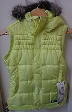 NWT Women's Burton Sly Puffy Vest Fur Hoodie Color Firefly Dry Ride Size Medium