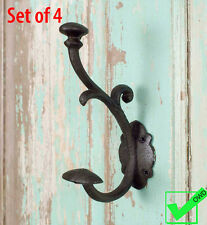 Set of 4 Cast Iron Coat Hat Scroll WALL HOOKS Rustic Metal antique vintage