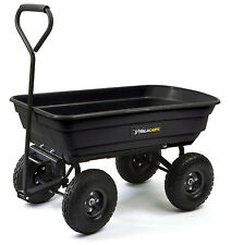 NEW Gorilla 600lb Capacity Poly Dump Utility Yard Cart Black Dump Wheel Barrow