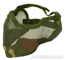 2G Steel Mesh Airsoft Paintball Half Mask Ear & Face Protector - Jungle Camo 3G
