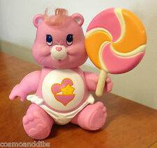 VINTAGE CARE BEAR POSEABLE FIGURE BABY HUGS WITH SWEET LICKITY LOLLIPOP 1984
