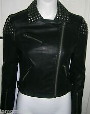 TOPSHOP FAUX LEATHER STUDDED  BIKER JACKET UK SIZE 8 EUR 36 US 4