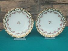 T&V Limoges Plates Hand Painted Factory Decorated Pink Roses Thick Gold