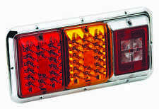 Bargman 84 85 Trailer RV Triple Tail Light Red&Amber LED Incndscnt Backup CHROME