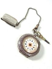 Antique .935 STERLING SILVER KEY-WIND POCKET WATCH w/ Key Chain & Belt Fob