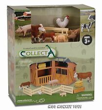 BARN PLAYSET stable CollectA 89331 w/ FARM ANIMALS works w/ Safari, Schleich NIB
