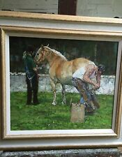 "SUPERB ORIGINAL DENNIS SYRETT ""The Farrier"" Equestrian Horse Shire OIL PAINTING"