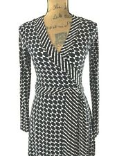 Banana Republic XS true wrap dress white black Gem print stretch long sl work LN