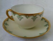 ANTIQUE ART DECO HAVILAND LIMOGES FRANCE HAND PAINTED PORCELAIN CUP AND SAUCER