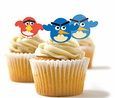 ✿ 24 Edible Rice Paper Cup Cake Toppings, Cake decs - Angry Birds✿