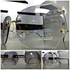 Womens CLASSIC VINTAGE RETRO Style SUNGLASSES Gold Rimless Frame Light Gray Lens