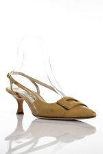 Manolo Blahnik Camel Brown Leather Pointed Toe Slingbacks Size 36 6
