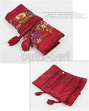 Wine red fashion jewelry roll Chinese silk brocade travel wallet pocket purse