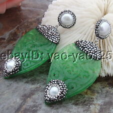 H030712 White Round Pearl Green Leafage Jade Earrings