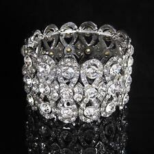 Bling Clear Crystal Rhinestone Bracelet Bangle Wedding Bridal Wristband
