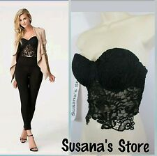 NWT BEBE Chloe Bobbin Lace Bra Top SIZE S Finished with leaf and flower, sexy!