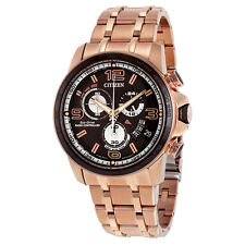 Citizen Eco Drive Chrono Time A-T Black Dial Gold-tone Mens Watch BY0108-50E