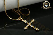 Damen Herren Kette 46 52 mit Kreuz Anhänger Zirkonia 999 Gold/24K vergoldet 1264