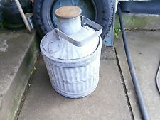 Vintage 5 gallon ribbed galvanised steel oil container