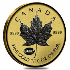 2015 ~1/10~OZ GOLD ~ CANADIAN MAPLE LEAF ~  E=mc2 Privy ~ REVERSE PROOF (SEALED)