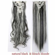 Ombre Long Clip In Hair Extensions Straight Full Head as Human Hair Extentions N
