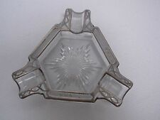 "ANTIQUE ART DECO GLASS WITH STERLING SILVER OVERLAY 5"" ASHTRAY"