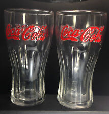 2x Rare Retro Style Coke Glasses with Red Coca-Cola lettering, good condition.