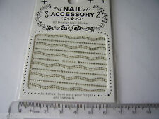 3D French Nail Tip Art stickers decals transfer Silver Glitter Dots Chain B043