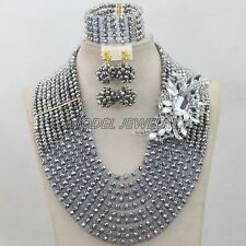 Silver Lilac Handmade African Costume Jewelry Set,African Nigerian Wedding Beads