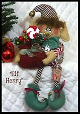 "~Primitive PATTERN Raggedy 15"" ""Elf Henry"" w/sack of sweets!~PATTERN #314"