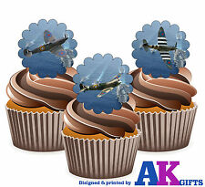 24 Comestibles fácil Precortada Grueso Cup Cake Toppers Spitfire Spitfires Stand Ups