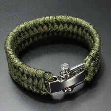 NEW ParaCord Survival Bracelet Weave Handmade 7-Stand Stainless Shackle Buckle