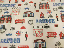 Good Morning London, London Print, British Printed Polycotton Fabric