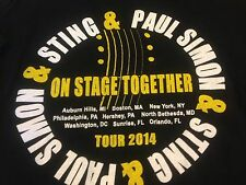 Sting and Paul Simon On Stage Together T Shirt Tour 2014 Black White Yellow