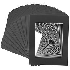 Set of 100 11x14  BLACK CRESCENT WhiteCore mats for 8x10 Photos +Backing + Bags