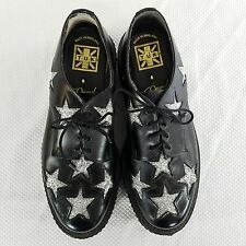 TUK Leather Black Silver Glitter Stars Oxford Platform Creepers Size 6 UK 8 US