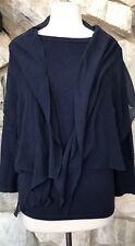 NWT $109 Ralph Lauren Navy Blue Long Sleeve Silk Blend Knit Top W Scarf Sz XL