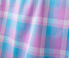 Plaid, Cotton Fabric. 2½ Yards. Pink, Blue, White. Woven, Madras Tartan